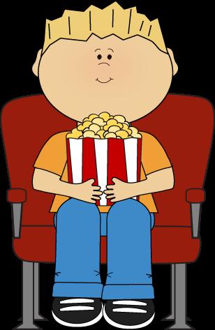 308x473 Boy Watching Movie With Popcorn Clip Art