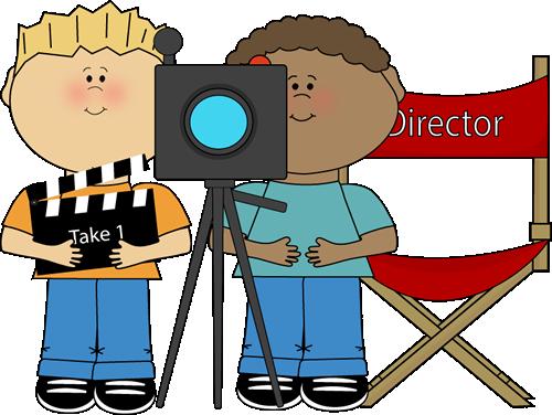 500x376 Kids Directing Behind Movie Camera Clip Art