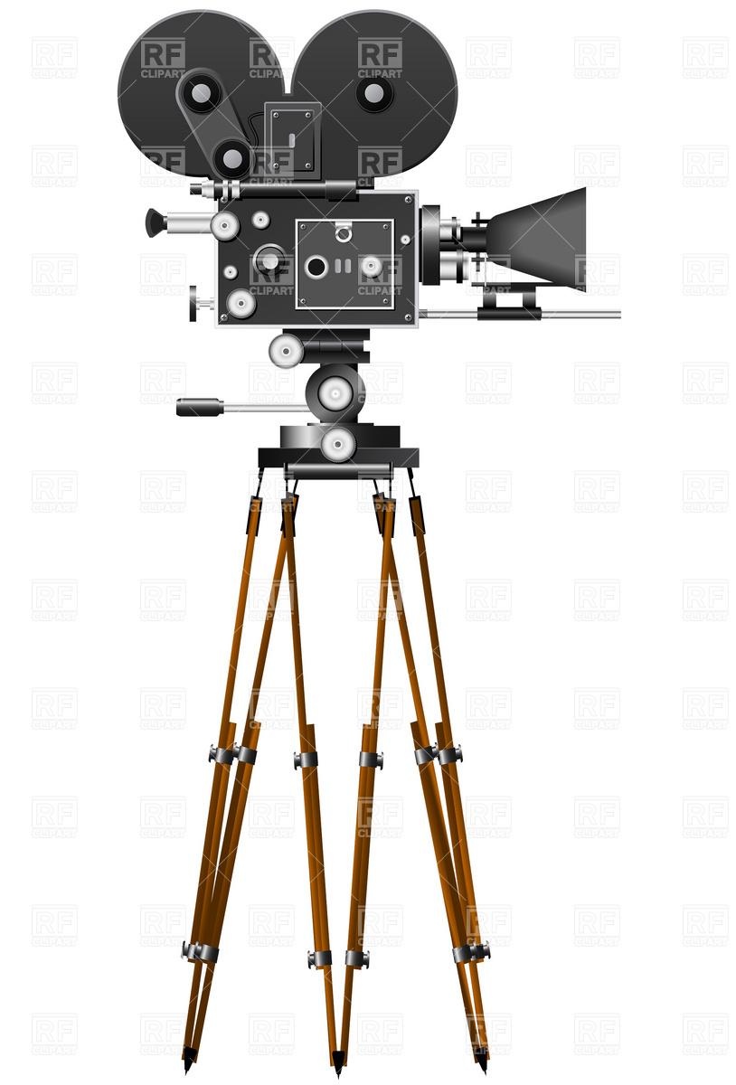 814x1200 Retro Movie Camera Royalty Free Vector Clip Art Image