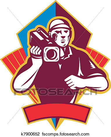 381x470 Clip Art Of Cameraman Holding Movie Camera Shooting K7900652