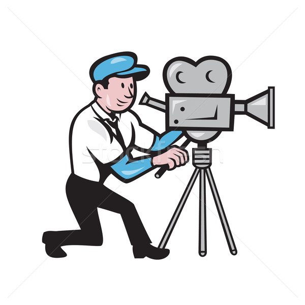 600x600 Cameraman Vintage Film Movie Camera Side Cartoon Vector
