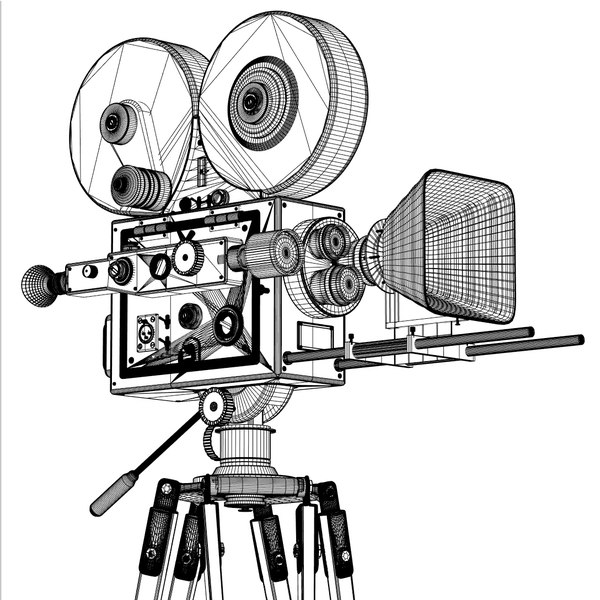 600x600 Image Gallery Old Movie Camera Drawing