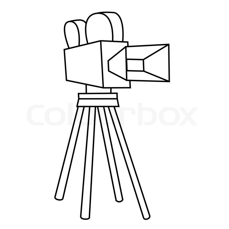 800x800 Black Outline Vector Movie Camera On White Background. Stock