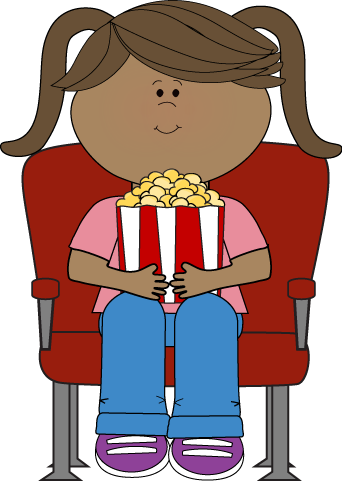 342x481 Girl Watching Movie In Theater Clip Art