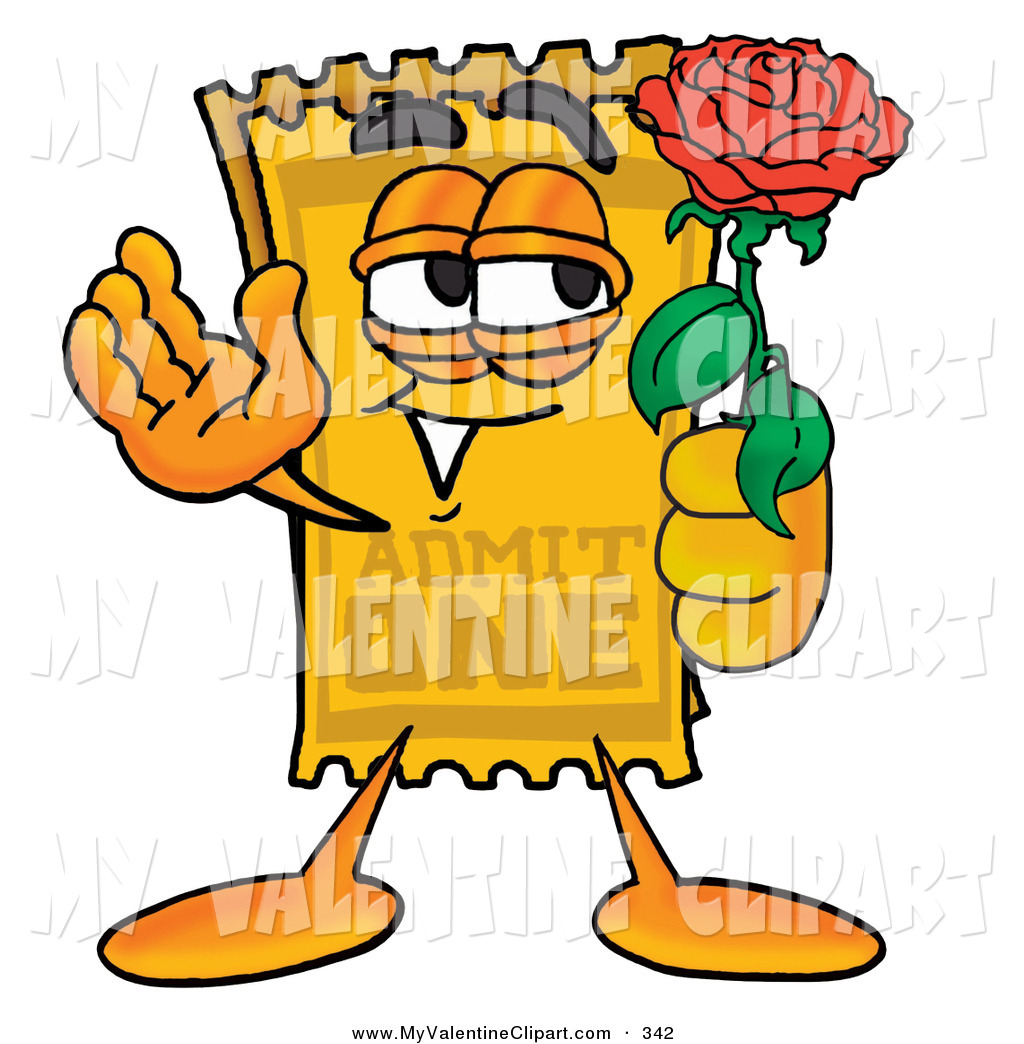1024x1044 Valentine's Clipart Of A Yellow Movie Admission Ticket Mascot