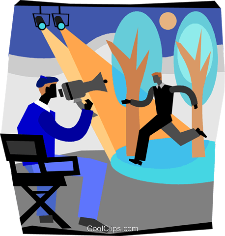 458x480 Movie Director Instructing Actor Royalty Free Vector Clip Art