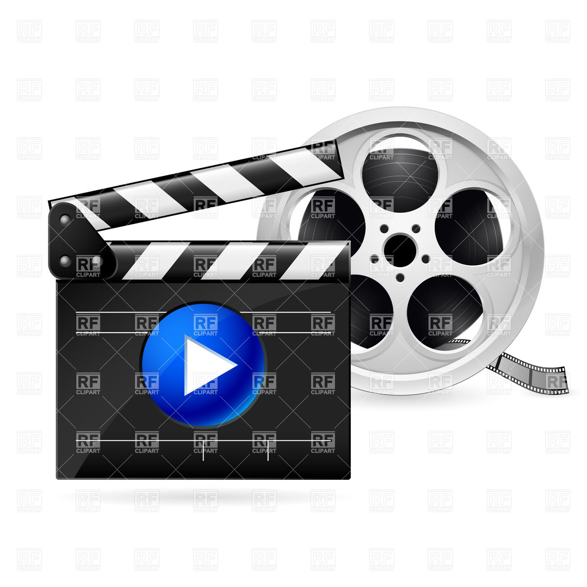 1200x1200 Open Movie Clapboard And Film Reel