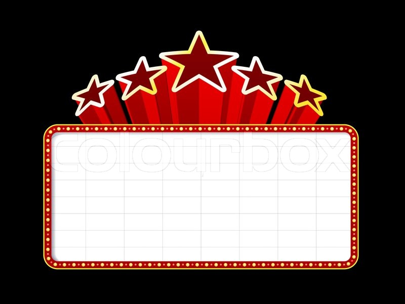 800x601 Blank Movie, Theater Or Casino Marquee With Stars Isolated