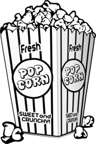 198x297 Popcorn Black And White Clip Art