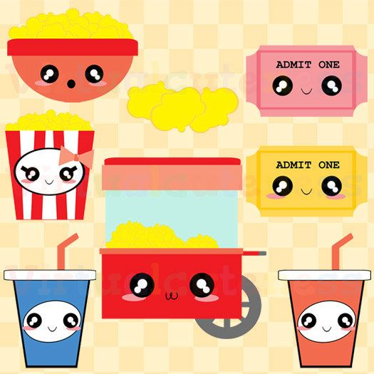 525x525 Kawaii Popcorn Clipart Cute Movie Theater Clip Por Virtualcuteness