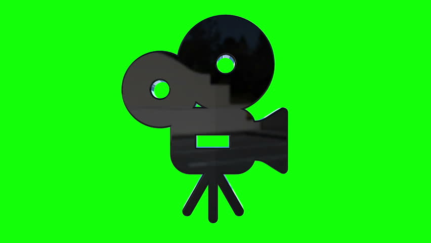 852x480 The Film Turns The Projector. Studio Green Screen Silhouette Stock