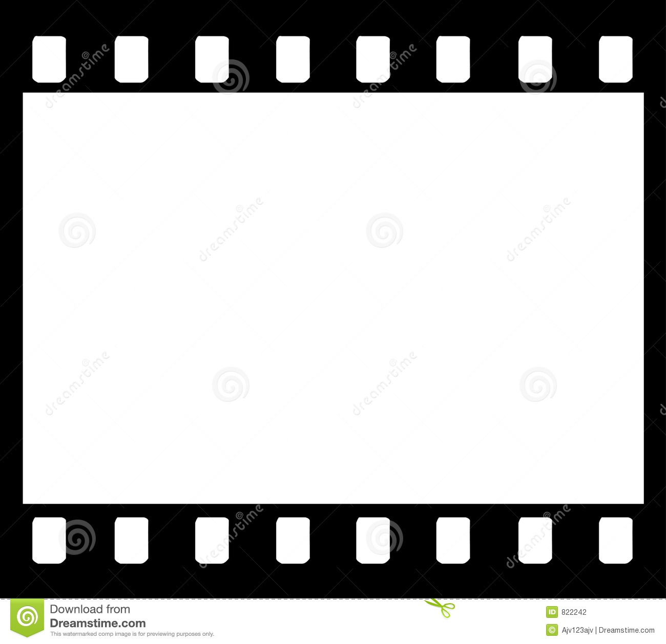 film reel moves horizontally with empty frame in the middle loop