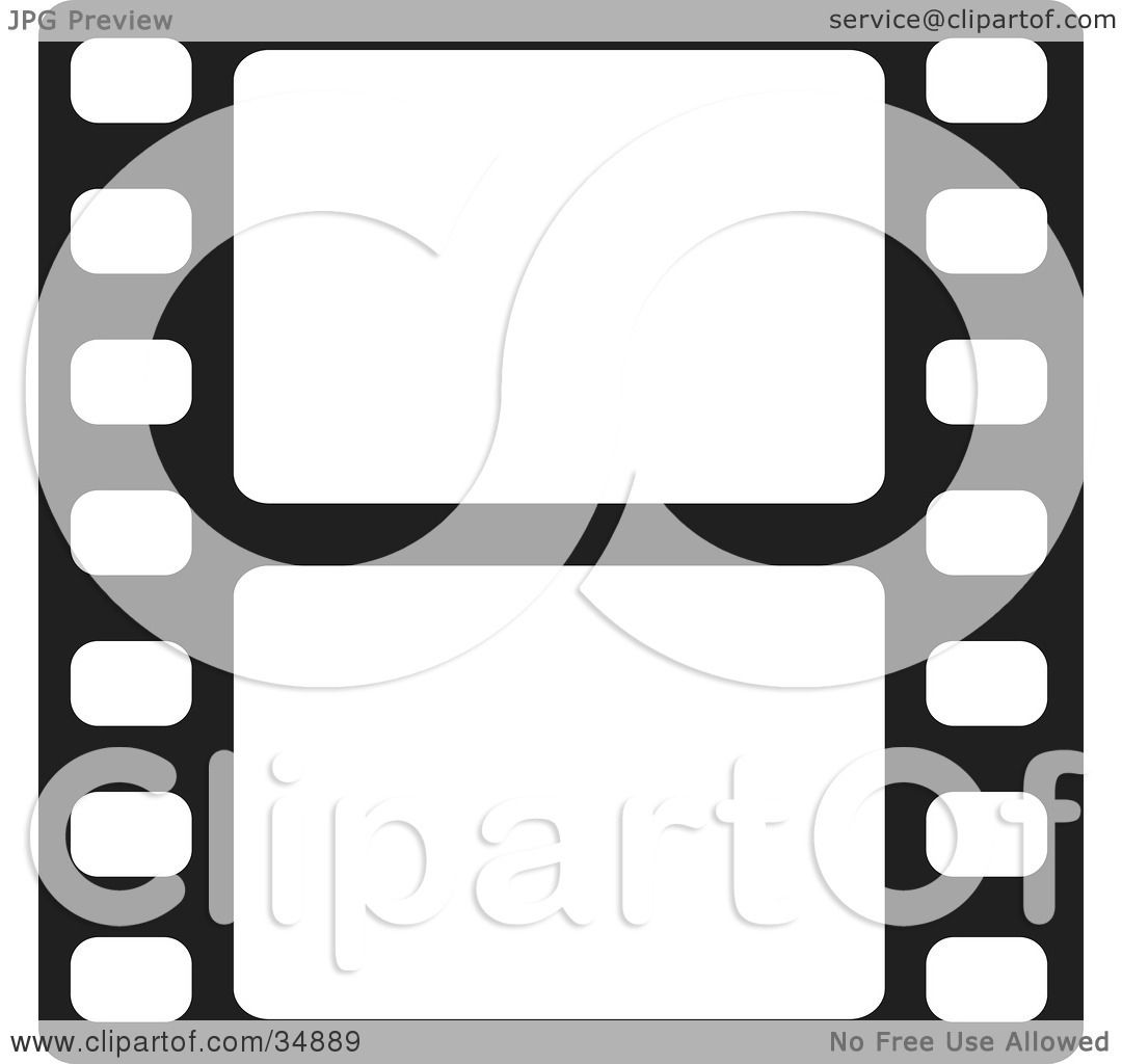 1080x1024 Clipart Illustration Of Two Blank White Frames Of A Film Strip By