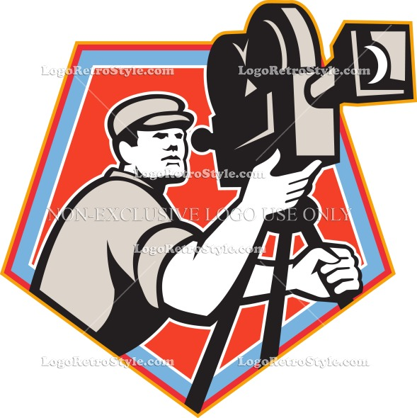 589x590 Cameraman Vintage Film Reel Camera Retro Logo Retro Style