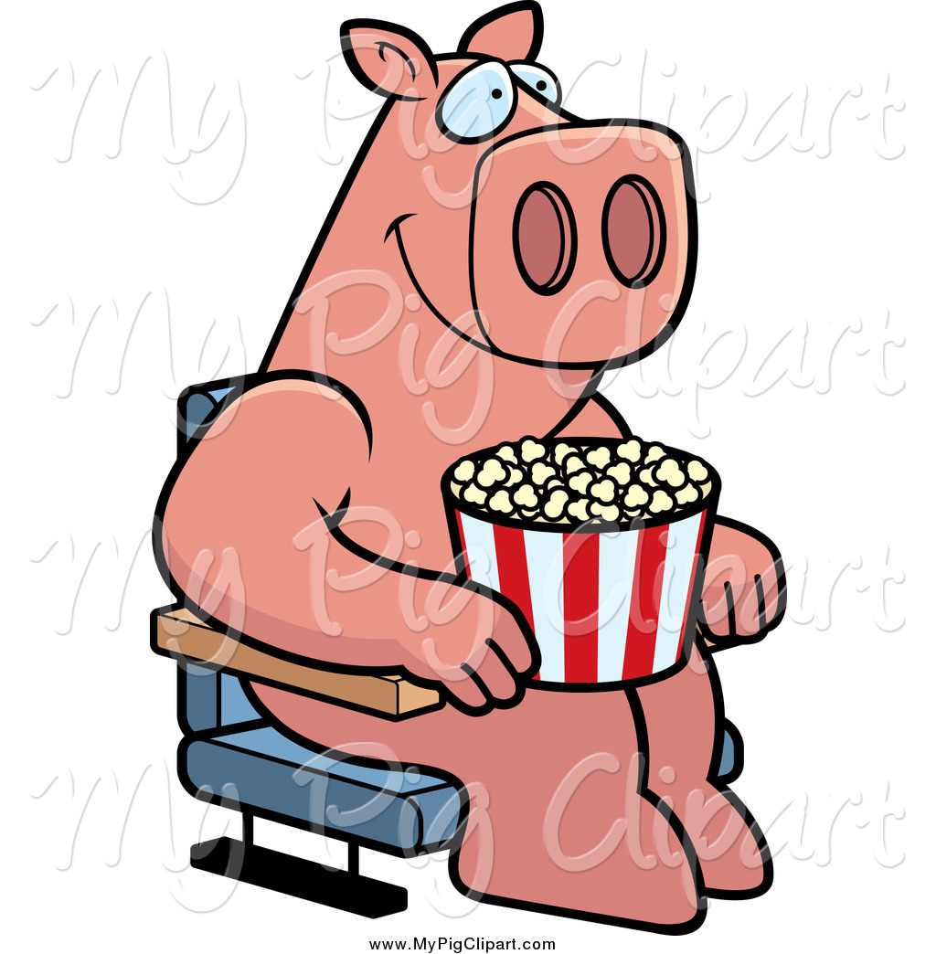 1024x1044 Swine Clipart Of A Pig With Popcorn