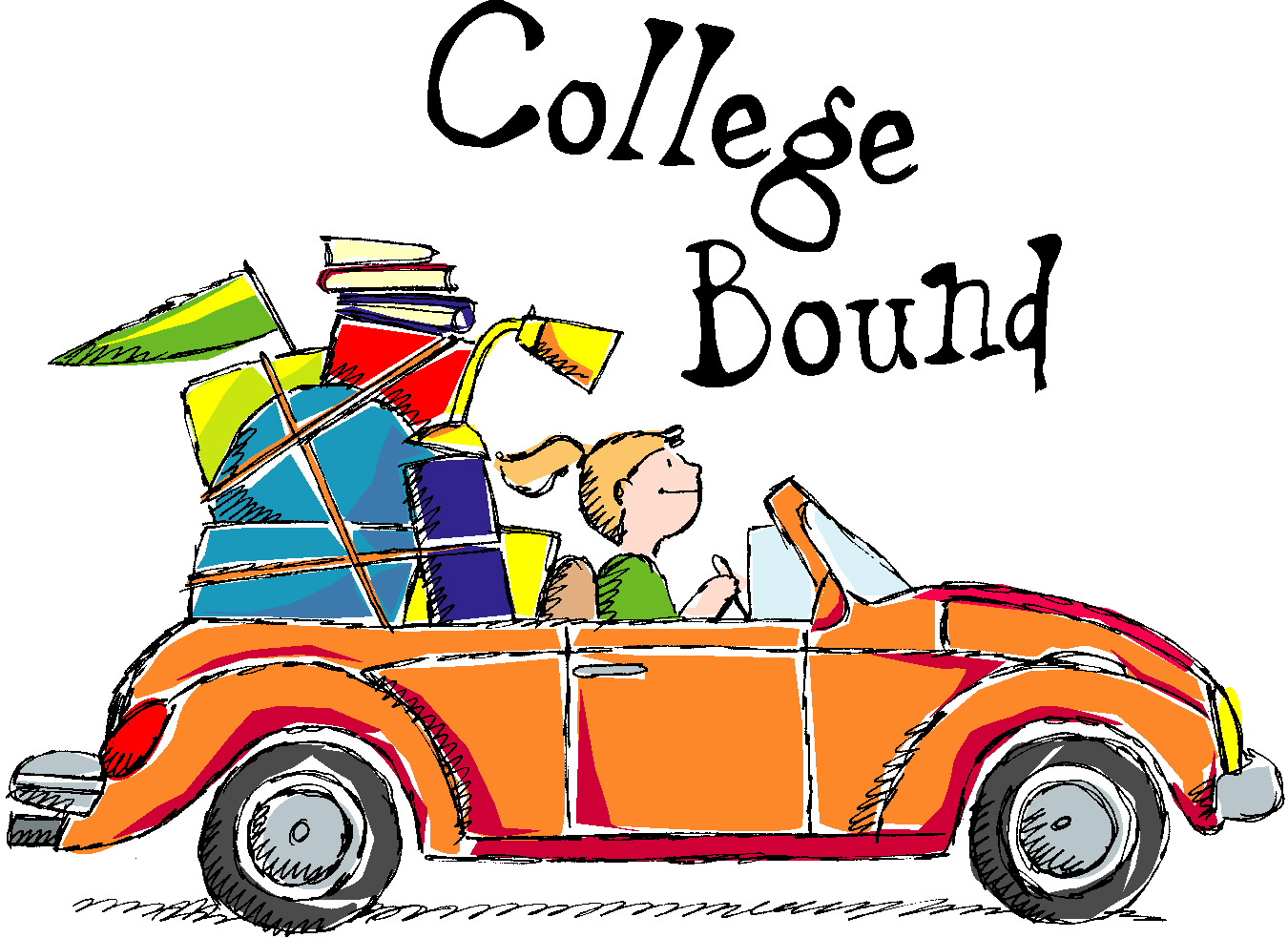 1350x983 Friends In Car Leave For School Clipart