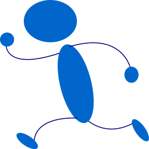 300x300 Running Blue Stick Man Clip Art