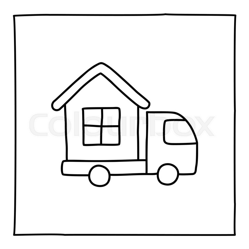 800x800 Doodle House On Truck Icon. Black White Symbol With Frame. Line