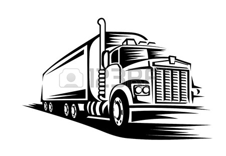 450x311 Logo Illustration Of A Truck With Trailer. Royalty Free Cliparts