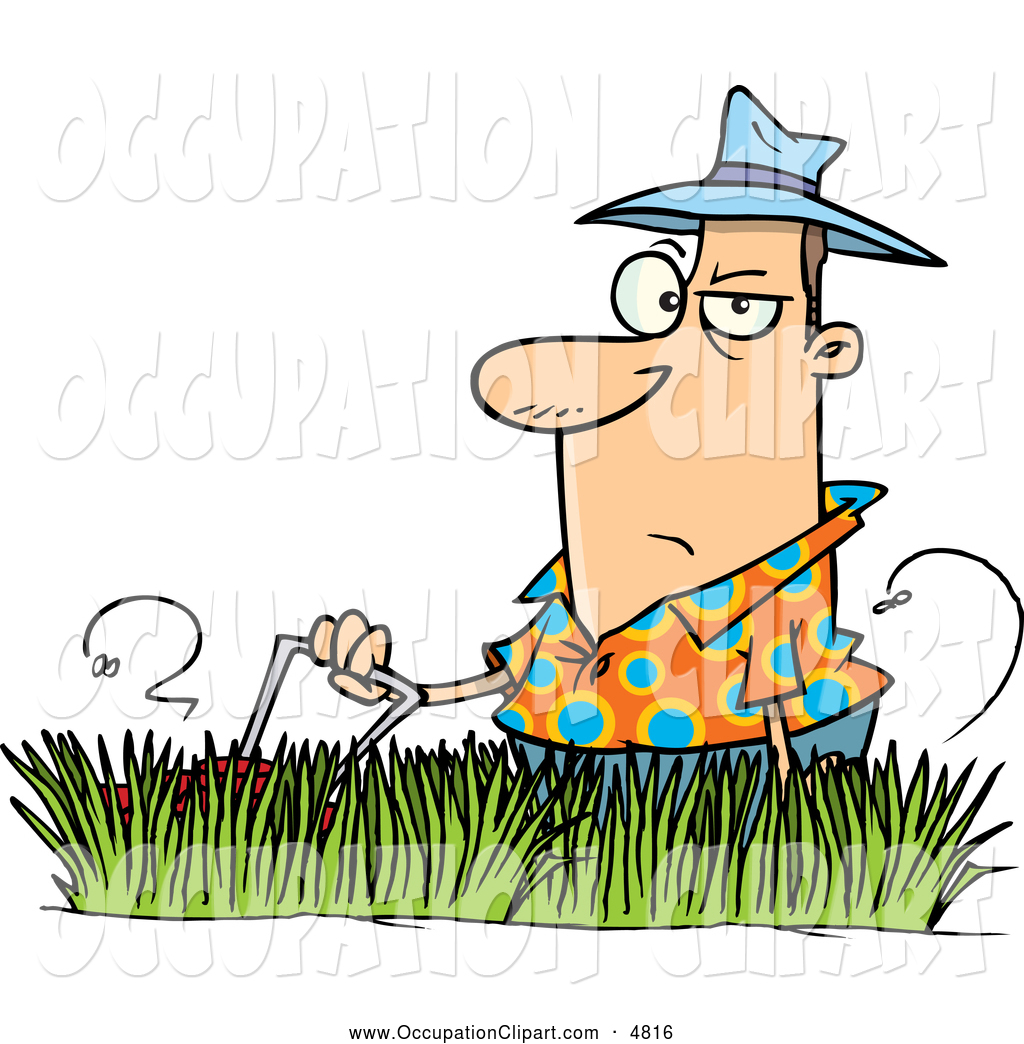 1024x1044 Clip Art Of A Cartoon Grumpy Man Mowing Tall Grass By Toonaday