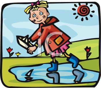 350x304 Picture Of A Girl Floating Paper Boats In A Mud Puddle In A Vector