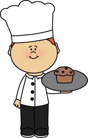 304x477 Chef Holding A Muffin Clip Art