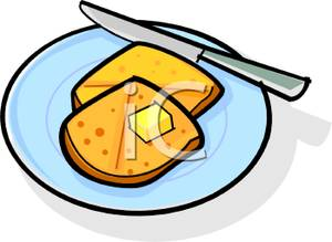 300x219 Cube Of Butter On A Toasted English Muffin Clip Art Image