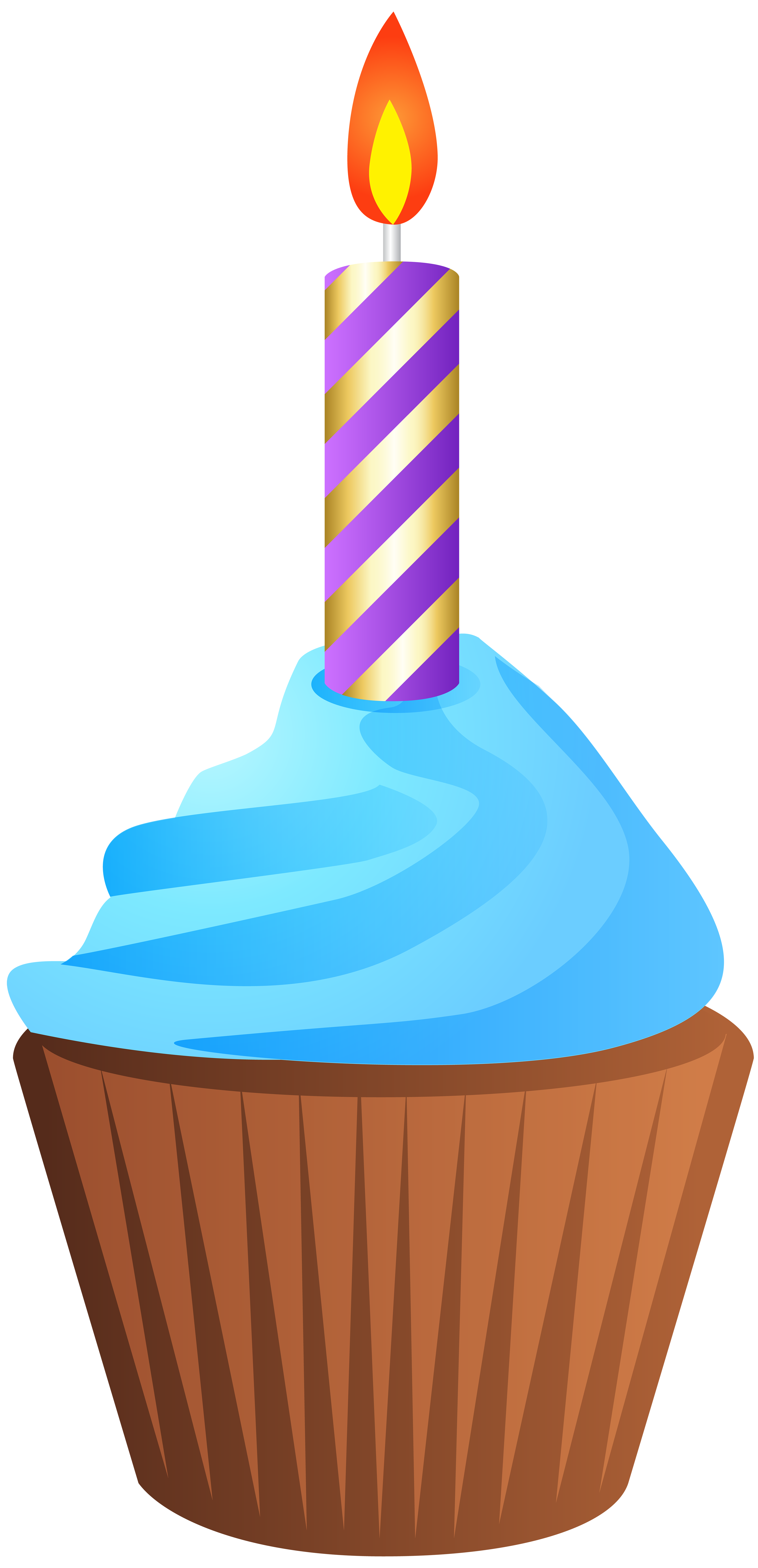 3869x8000 Birthday Muffin With Candle Transparent Png Clip Art Image