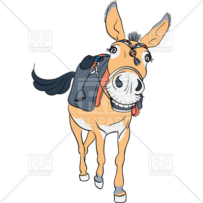 400x400 Funny Donkey Smiling With Saddle Royalty Free Vector Clip Art