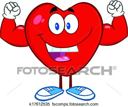 450x377 Clipart Of Heart Showing Muscle Arms K17612535