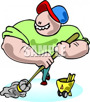 309x350 Muscle Bound Janitor With A Mop
