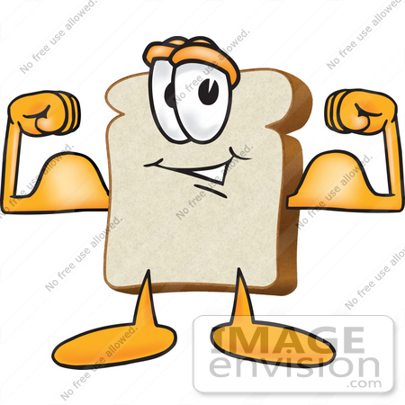 450x450 Clip Art Graphic Of A White Bread Slice Mascot Character Flexing