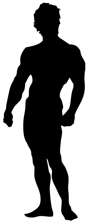 288x720 Silhoutte Muscle Man Clipart