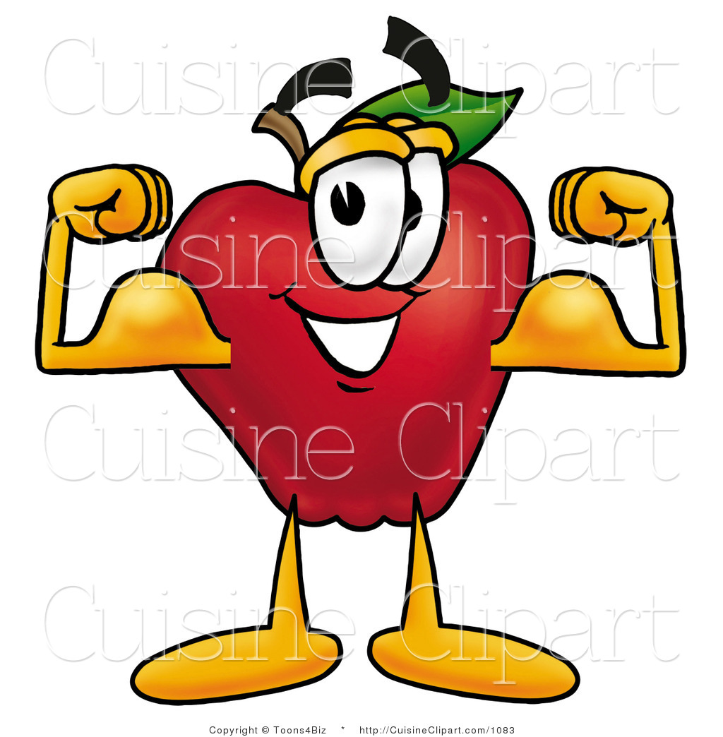 1024x1044 Cuisine Clipart Of A Strong Nutritious Red Apple Character Mascot