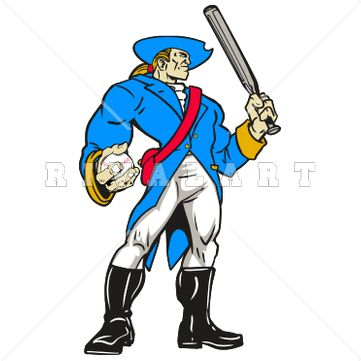361x361 Mascot Clipart Image Of A Patriots Baseball Player With Muscles