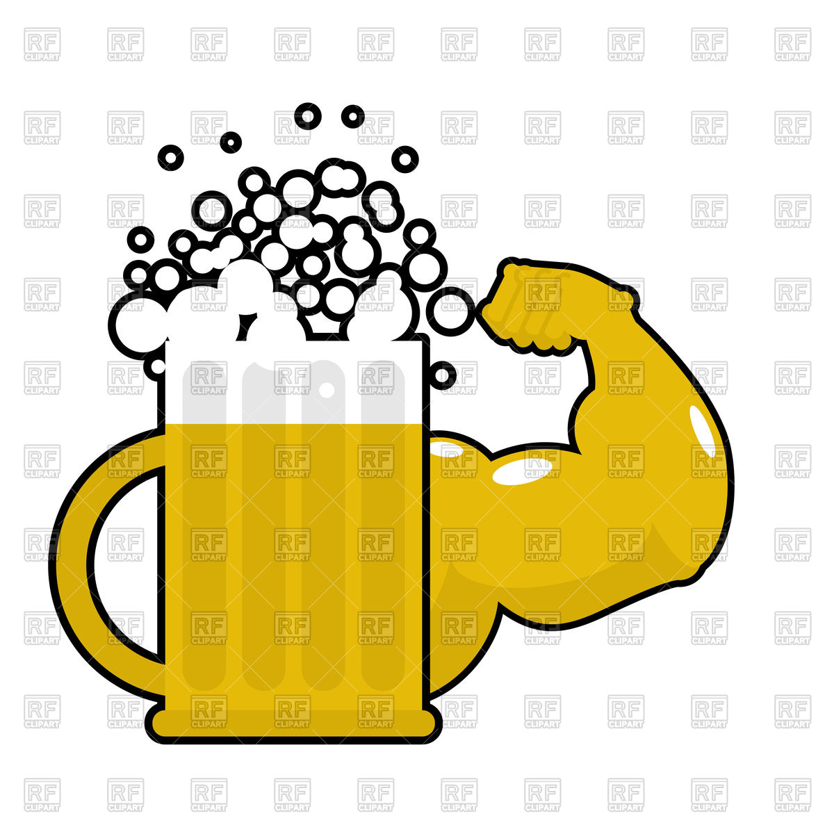 1200x1200 Mug With Big Muscles, Strong Beer Royalty Free Vector Clip Art