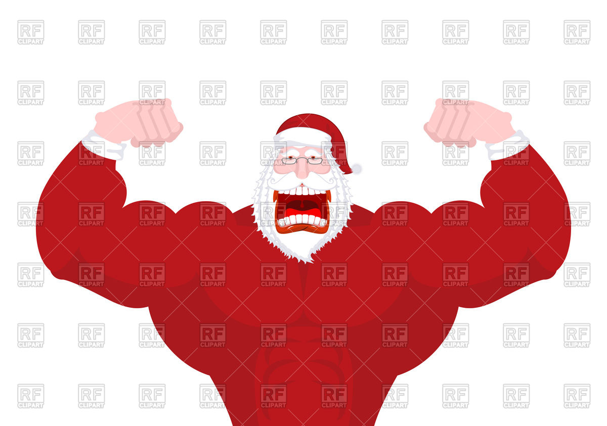 1200x843 Powerful Santa Claus With Big Muscles Royalty Free Vector Clip Art
