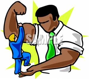 300x267 Tiny Businessman Squeezing The Muscles Of A Larger Man Clip Art Image