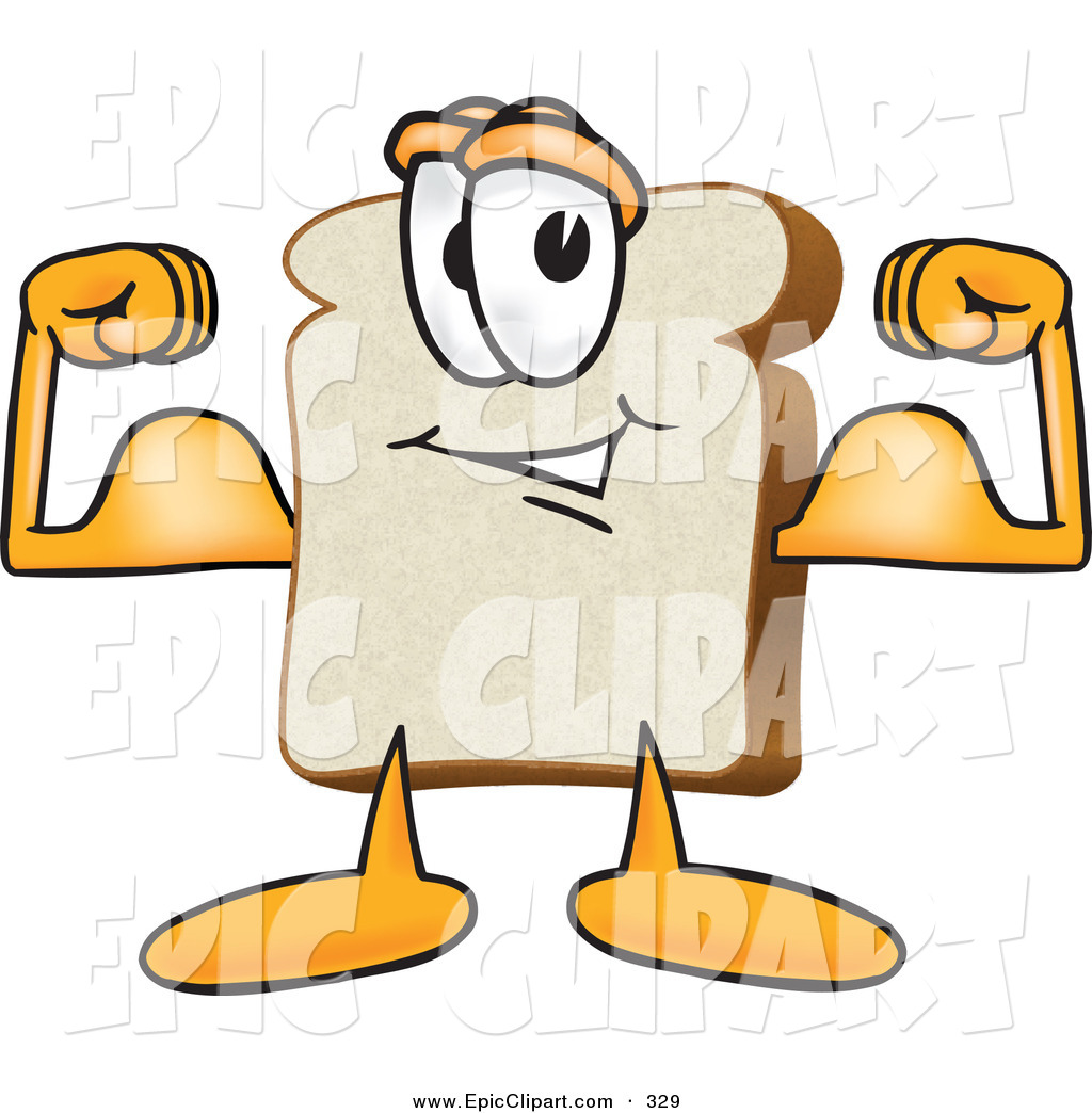 1024x1044 Vector Clip Art Of A Strong Slice Of White Bread Food Mascot