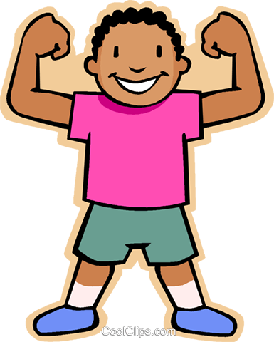 385x480 Boy Showing Muscles Royalty Free Vector Clip Art Illustration