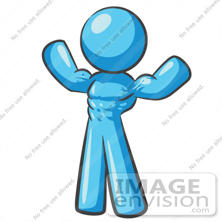 450x450 Clip Art Graphic Of A Sky Blue Guy Character Flexing His Muscles