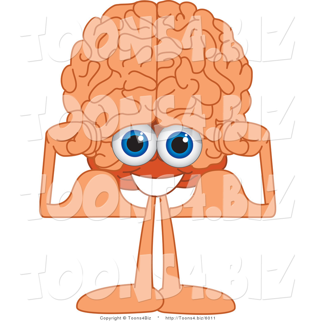 1024x1044 Vector Illustration Of A Cartoon Human Brain Flexing His Muscles