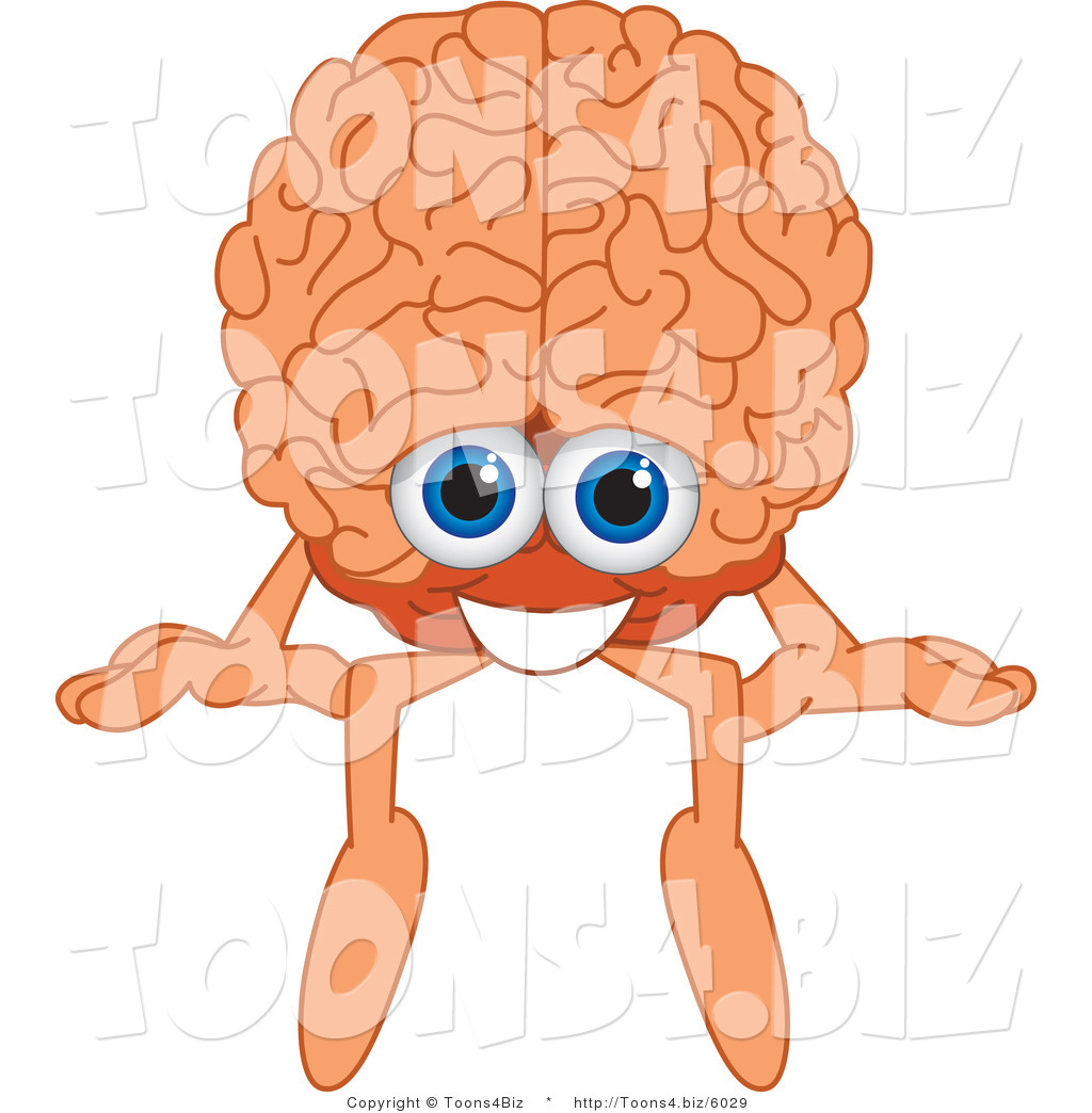 1024x1044 Vector Illustration Of Cartoon Human Brain Mascot Sitting On