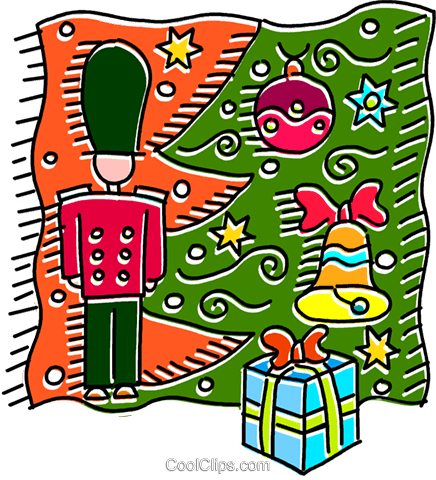 436x480 Toy Soldier Under The Christmas Tree Royalty Free Vector Clip Art