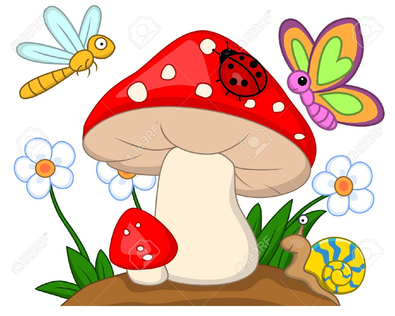 1300x1042 Grass Clipart Colorful Mushroom