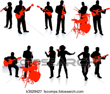 450x386 Clip Art Of Music Group With Singers And Instruments On White