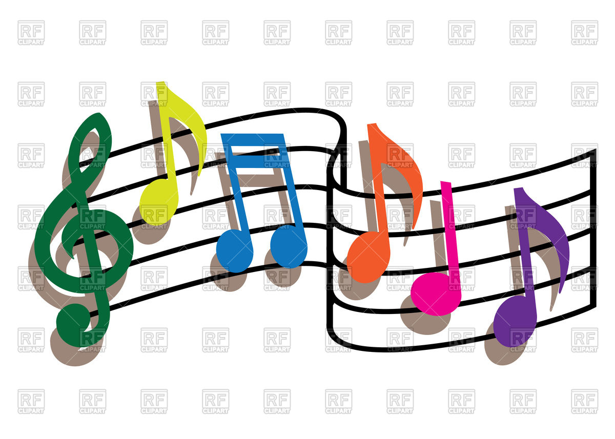 1200x857 Coloured Music Notes On The White Background Royalty Free Vector