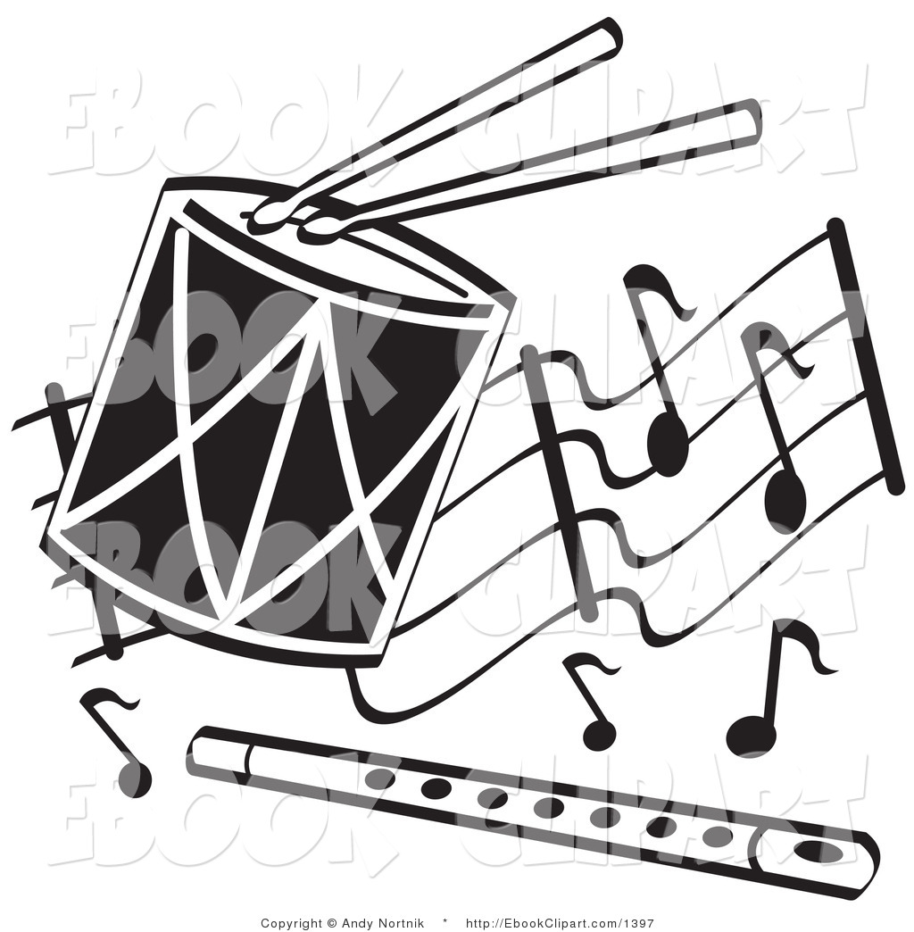 1024x1044 Clip Art Of Black And White Drumsticks Drum And Flute With Musical