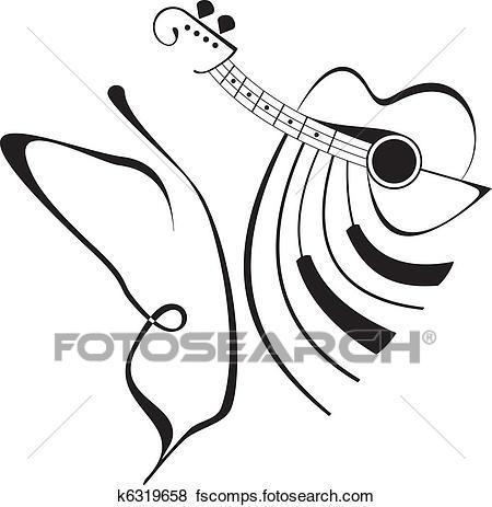 450x463 Clip Art Of Butterfly Music Tattoo K6319658