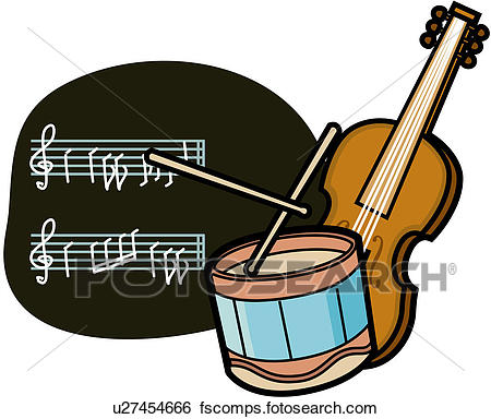 450x384 Clip Art Of Drum, Instruments, Violin, Music Book, Sheet Of Music